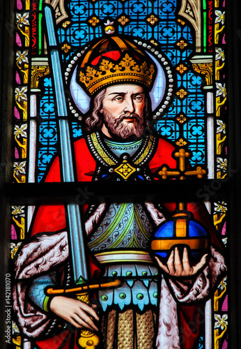 Fototapeta Stained Glass - Charlemagne
