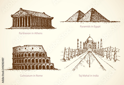 Photo  World famous historical monuments. Vector sketch