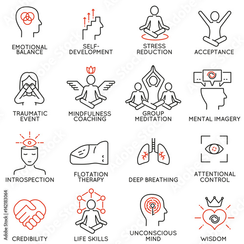 Vector set of 16 linear icons related to mindfulness, awareness, consciousness and mental conditions Canvas Print
