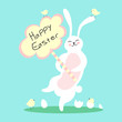 Happy Easter card with cute bunny and chickens. Vector illustration