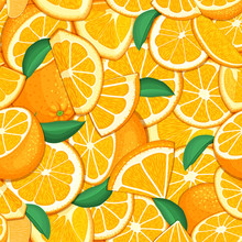 Ripe Juicy Tropical Orange Background. Vector Card Illustration. Closely Spaced Fresh Citrus Orange Fruit Peeled, Piece Of Half, Slice. Seamless Pattern For Packaging Design Healthy Food, Diet, Juce