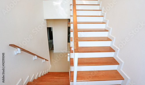 Tuinposter Trappen The modern wooden stair way in home