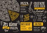 Pizza menu restaurant, food template. - 142190837