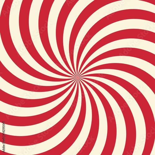 Plakat Wirujące tło wirowe radialne. Białe i czerwone paski wirujące wokół środka kwadratu.