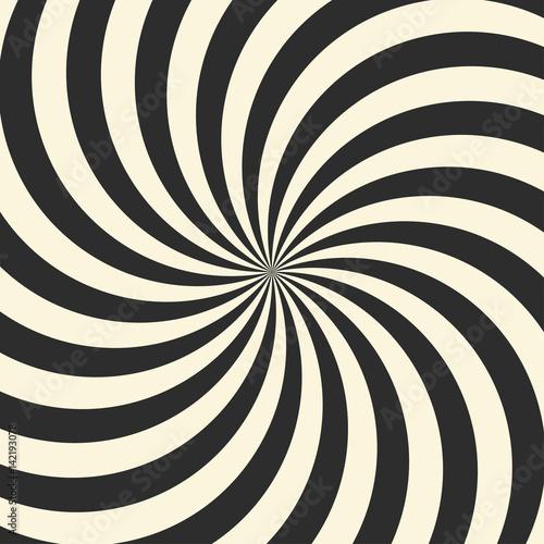 Plakat Wirujące tło wirowe radialne. Białe i czarne pasy wirujące wokół środka kwadratu.