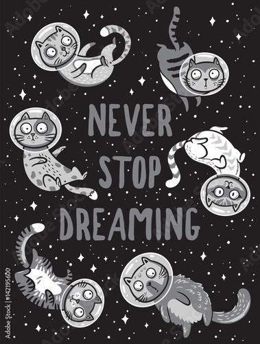 wektorowy-druk-z-kotami-w-przestrzeni-nigdy-nie-przestawaj-marzyc