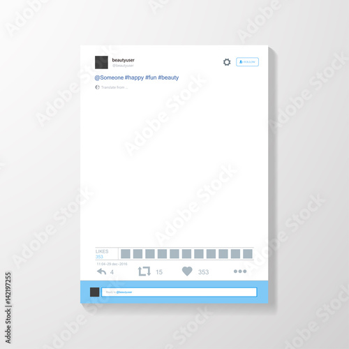 Obraz Social network photo frame vector illustration. Mock up Vector illustration - fototapety do salonu