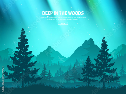 Mountains and forest. Wild nature landscape. Travel and adventure.Panorama. Into the woods. Horizon line.Trees,fogfog.