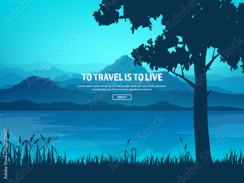 Photo Stands Turquoise Mountains and forest. Wild nature landscape. Travel and adventure.Panorama. Into the woods. Horizon line.Trees,fogfog.