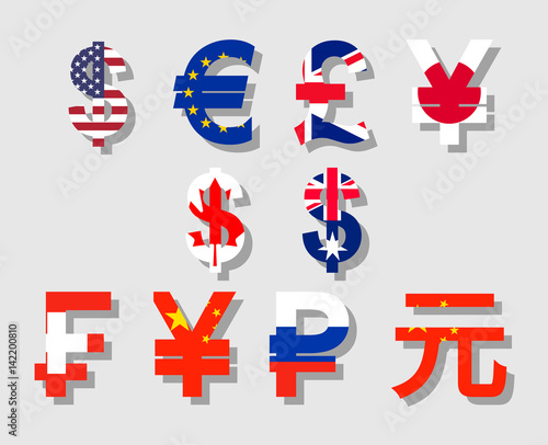Fototapeta Flat vector with flag and shadow currency symbols icon set of USA, Canada, Australia, Britain, EU, Russia, China, Japan obraz