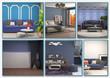 Collage of modern home blue interior. 3d illustration