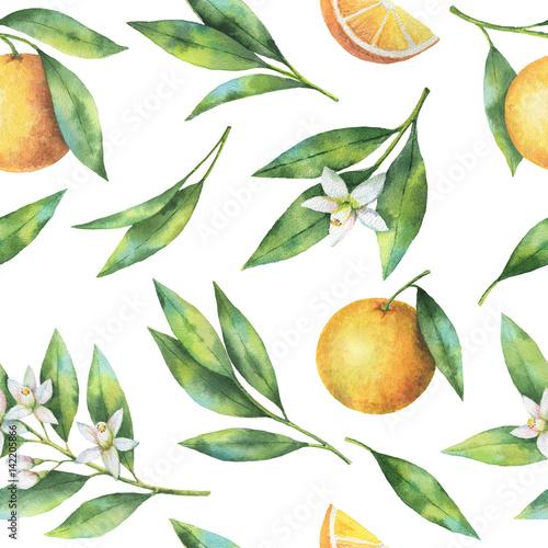 akwarela-owocowy-pomaranczowy-bezszwowy-wzor-kwiaty-i-liscie-odizolowywajacy