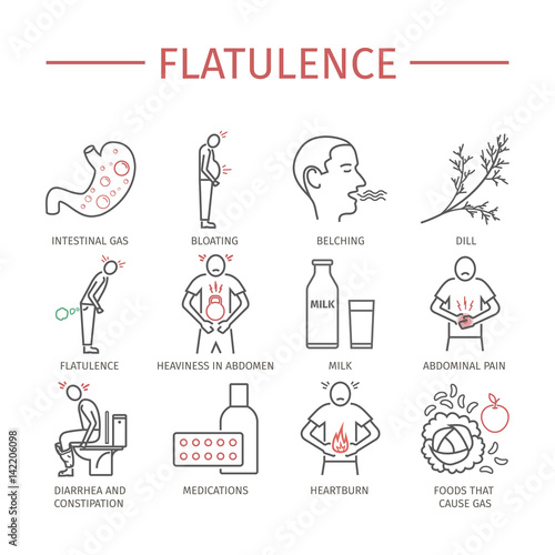 Flatulence. Symptoms, Treatment. Line icons set. Fototapeta