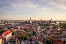 Scenic Summer Beautiful Aerial Skyline Panorama Of The Old Town In Tallinn, Estonia