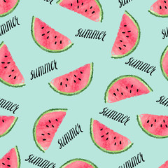 FototapetaSeamless watermelon pattern. Vector summer background.