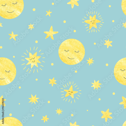 Cotton fabric Seamless sleeping moon and stars pattern. Vector night illustration for kids.