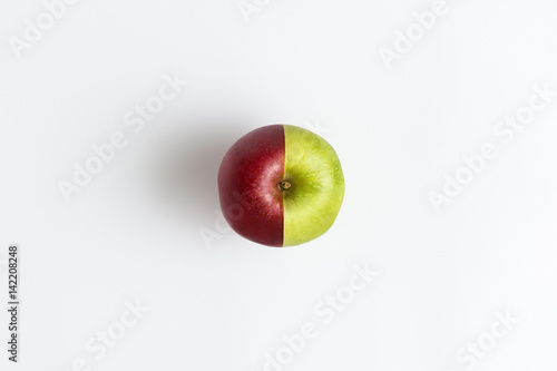 Fotografía  Top view of an apple combined from two