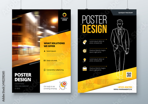 Poster Design A3 A2 A1 Black Yellow Corporate Business Template For
