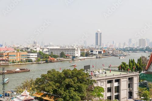 Bangkok, panorama view. Chao Phraya river. Thailand. Poster
