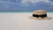 v02689 Maldives beautiful beach background white sandy tropical paradise island with blue sky sea water ocean 4k hat