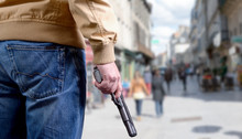 Killer Man Is Attacking With  Gun On Public Place