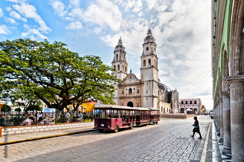 Mexique square and Cathedral in Campeche, Mexico