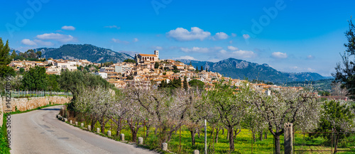 Photo  Idyllic view of the mediterranean mountain village Selva on Majorca Spain, Balea
