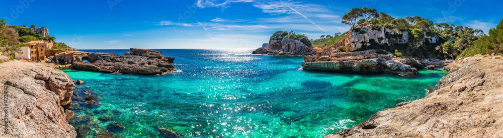 Fototapeta Island scenery, seascape Spain Majorca, beach bay Cala s'Almunia, beautiful coastline Mediterranean Sea
