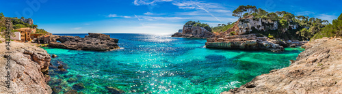 Poster Europa Island scenery, seascape Spain Majorca, beach bay Cala s'Almunia, beautiful coastline Mediterranean Sea