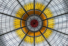 Stained Glass Ceiling With Hub And Spoke Pattern