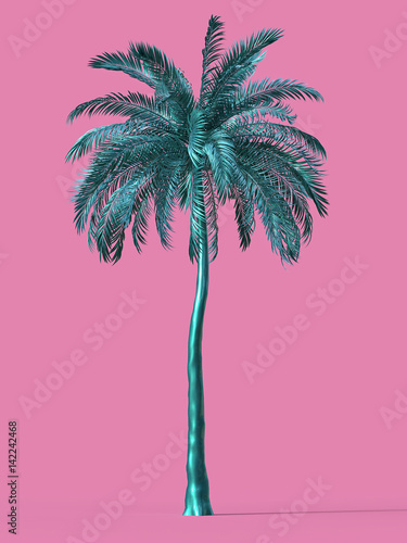In de dag Palm boom Palm tree gold golden tropical plant dream beach symbol design element great vacation tour concept. render isolated