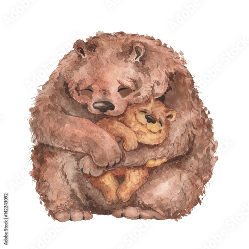 Mama bear and baby bear. Watercolor illustration. Handmade drawing.