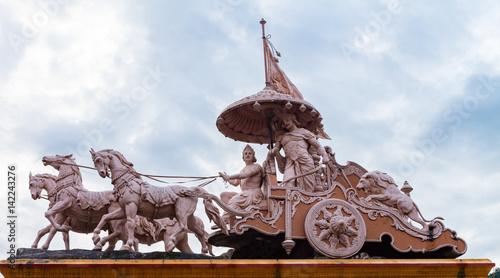 Sculpture of Hindu God Krishna and Arjuna