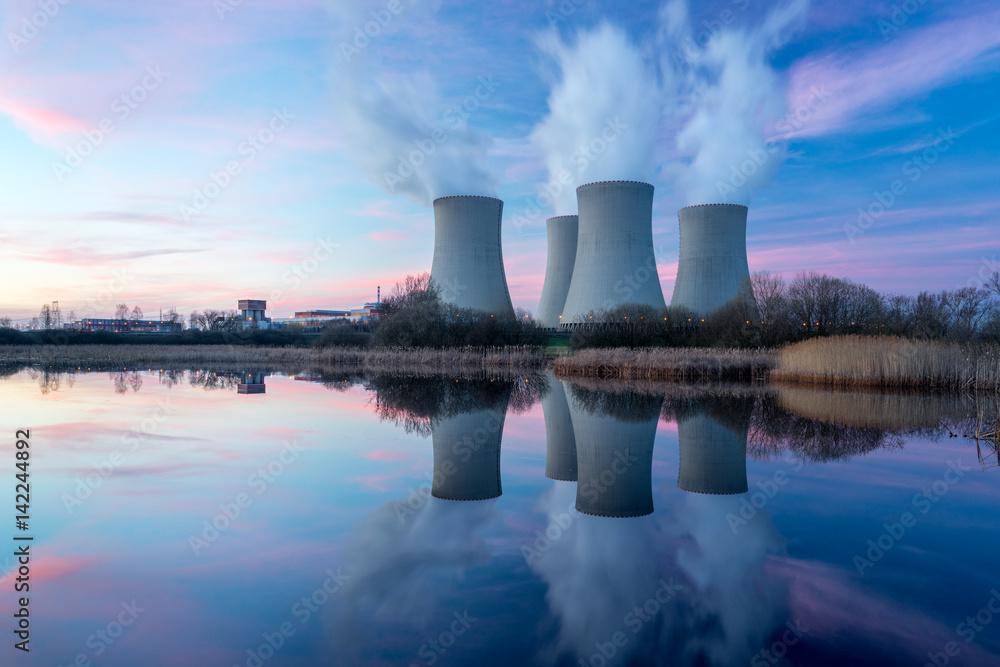 Fototapeta Nuclear power plant with dusk landscape.