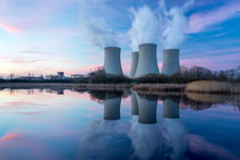 Nuclear Power Plant With Dusk Landscape.