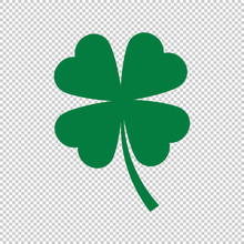 Green Clover Leaf On Transparent Background, Vector Illustration