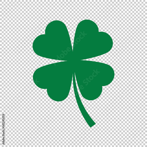 Fototapeta green clover leaf on transparent background, vector illustration