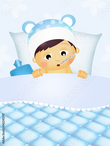 Fotografia  baby sick in the bed