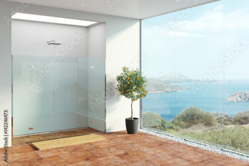 Fotografie, Obraz  3d illustration of shower with panoramic view