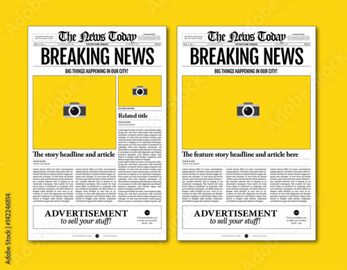 vintage newspaper template designs on yellow background Poster Mural XXL