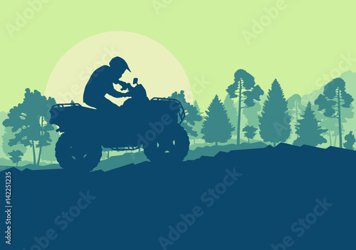 Aluminium Prints Green coral All terrain vehicle driver landscape with trees outdoor activity vector