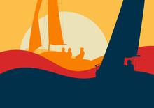Yachts Sailing Regatta Ocean Landscape With Sunset