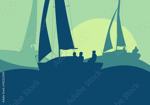 Obrazy Regaty   yachts-sailing-regatta-ocean-landscape-with-sunset