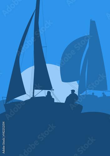 Yachts sailing regatta ocean landscape with sunset Fototapete