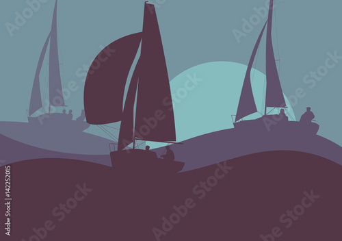 Valokuva Yachts sailing regatta ocean landscape with sunset