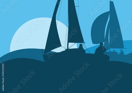 Yachts sailing regatta ocean landscape with sunset Wallpaper Mural