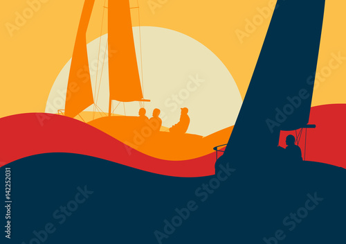 Fotografie, Obraz Yachts sailing regatta ocean landscape with sunset