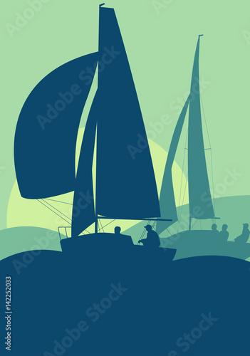 Leinwand Poster Yachts sailing regatta ocean landscape with sunset