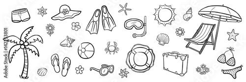 Obraz Illustrations-Set: Sommer / schwarz-weiß, handgezeichnet, Vektor, freigestellt - fototapety do salonu