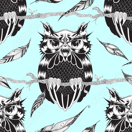 Fototapeta Seamless pattern with owl and feathers Texture for wallpapers, pattern fills, textile design, web page backgrounds